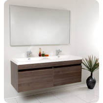 Fresca Largo (double) 56.6-Inch Gray Oak Modern Wall-Mount Bathroom Vanity Set