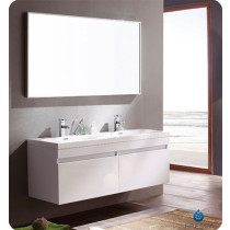 Fresca Largo (double) 56.6-Inch White Modern Wall-Mount Bathroom Vanity Set