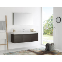 Fresca Mezzo (single) 59-Inch Gray Oak Modern Wall-Mount Bathroom Vanity Set