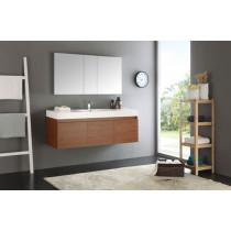 Fresca Mezzo (single) 59-Inch Teak Modern Wall-Mount Bathroom Vanity Set