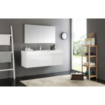 Fresca Mezzo (single) 59-Inch White Modern Wall-Mount Bathroom Vanity Set