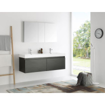 Fresca Mezzo (double) 59-Inch Black Modern Wall-Mount Bathroom Vanity Set