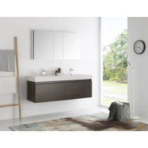 Fresca Mezzo (double) 59-Inch Gray Oak Modern Wall-Mount Bathroom Vanity Set