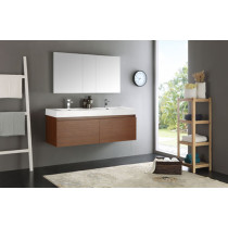 Fresca Mezzo (double) 59-Inch Teak Modern Wall-Mount Bathroom Vanity Set