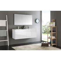 Fresca Mezzo (double) 59-Inch White Modern Wall-Mount Bathroom Vanity Set