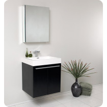 Fresca Alto (single) 22.63-Inch Black Modern Wall-Mount Bathroom Vanity Set