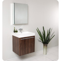 Fresca Alto (single) 22.63-Inch Walnut Modern Wall-Mount Bathroom Vanity Set