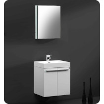 Fresca Alto (single) 22.63-Inch White Modern Wall-Mount Bathroom Vanity Set