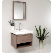 Fresca Potenza (single) 27.4-Inch Gray Oak Modern Wall-Mount Bathroom Vanity Set