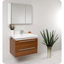 Fresca Medio (single) 31.4-Inch Teak Modern Wall-Mount Bathroom Vanity Set