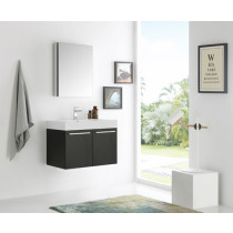 Fresca Vista (single) 29.5-Inch Black Modern Wall-Mount Bathroom Vanity Set