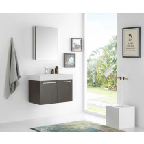 Fresca Vista (single) 29.5-Inch Gray Oak Modern Wall-Mount Bathroom Vanity Set
