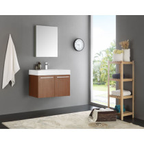 Fresca Vista (single) 29.5-Inch Teak Modern Wall-Mount Bathroom Vanity Set