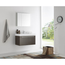 Fresca Vista (single) 35.4-Inch Gray Oak Modern Wall-Mount Bathroom Vanity Set