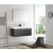 Fresca Vista (double) 47.3-Inch Black Modern Wall-Mount Bathroom Vanity Set