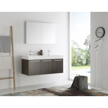 Fresca Vista (double) 47.3-Inch Gray Oak Modern Wall-Mount Bathroom Vanity Set