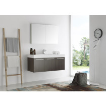 Fresca Vista (single) 47.3-Inch Gray Oak Modern Wall-Mount Bathroom Vanity Set