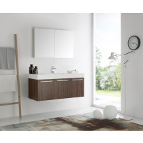 Fresca Vista (single) 47.3-Inch Walnut Modern Wall-Mount Bathroom Vanity Set