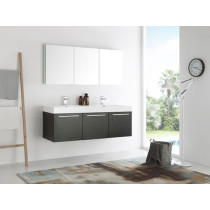 Fresca Vista (double) 59-Inch Black Modern Wall-Mount Bathroom Vanity Set