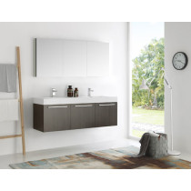 Fresca Vista (double) 59-Inch Gray Oak Modern Wall-Mount Bathroom Vanity Set