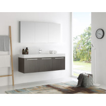 Fresca Vista (single) 59-Inch Gray Oak Modern Wall-Mount Bathroom Vanity Set