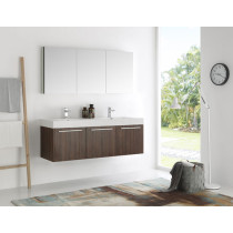 Fresca Vista (double) 59-Inch Walnut Modern Wall-Mount Bathroom Vanity Set