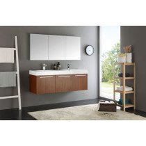 Fresca Vista (double) 59-Inch Teak Modern Wall-Mount Bathroom Vanity Set