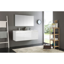 Fresca Vista (double) 59-Inch White Modern Wall-Mount Bathroom Vanity Set