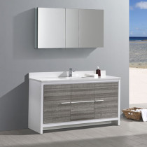 Fresca Allier Rio (single) 60-Inch Ash Gray Modern Bathroom Vanity Set