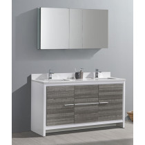 Fresca Allier Rio (double) 60-Inch Ash Gray Modern Modern Bathroom Vanity Set