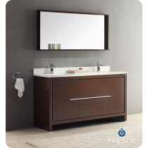 Fresca Allier (double) 60-Inch Wenge Brown Modern Bathroom Vanity Set