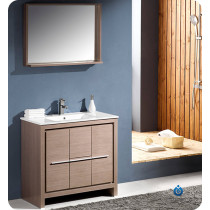 Fresca Allier (single) 35.38-Inch Gray Oak Modern Bathroom Vanity Set
