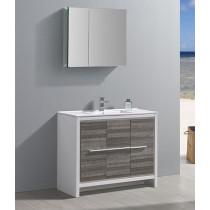 Fresca Allier Rio (single) 39.38-Inch Ash Gray Modern Bathroom Vanity Set