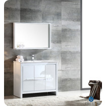 Fresca Allier (single) 39.38-Inch White Modern Bathroom Vanity Set