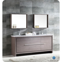 Fresca Allier (double) 72-Inch Gray Oak Modern Bathroom Vanity Set