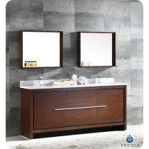 Fresca Allier (double) 72-Inch Wenge Brown Modern Bathroom Vanity Set
