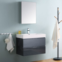 Fresca Valencia (single) 30-Inch Glossy Gray Modern Wall-Mount Bathroom Vanity Set