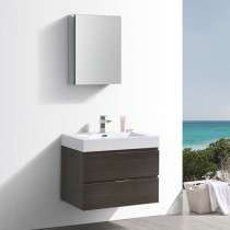 Fresca Valencia (single) 30-Inch Gray Oak Modern Wall-Mount Bathroom Vanity Set