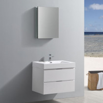 Fresca Valencia (single) 30-Inch Glossy White Modern Wall-Mount Bathroom Vanity Set