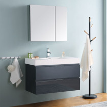 Fresca Valencia (single) 36-Inch Glossy Gray Modern Wall-Mount Bathroom Vanity Set