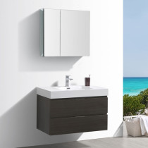 Fresca Valencia (single) 36-Inch Gray Oak Modern Wall-Mount Bathroom Vanity Set