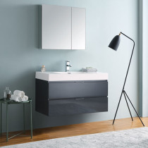 Fresca Valencia (single) 40-Inch Glossy Gray Modern Wall-Mount Bathroom Vanity Set