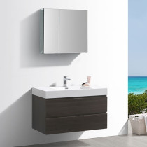 Fresca Valencia (single) 40-Inch Gray Oak Modern Wall-Mount Bathroom Vanity Set