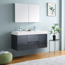 Fresca Valencia (double) 48-Inch Glossy Gray Modern Wall-Mount Bathroom Vanity Set