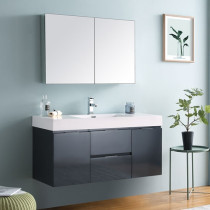 Fresca Valencia (single) 48-Inch Glossy Gray Modern Wall-Mount Bathroom Vanity Set