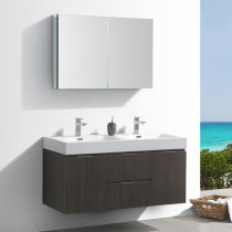 Fresca Valencia (double) 48-Inch Gray Oak Modern Wall-Mount Bathroom Vanity Set