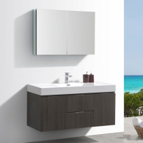 Fresca Valencia (single) 48-Inch Gray Oak Modern Wall-Mount Bathroom Vanity Set