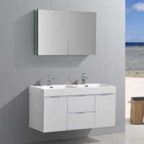 Fresca Valencia (double) 48-Inch Glossy White Modern Wall-Mount Bathroom Vanity Set