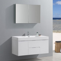 Fresca Valencia (single) 48-Inch Glossy White Modern Wall-Mount Bathroom Vanity Set