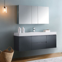 Fresca Valencia (single) 60-Inch Glossy Gray Modern Wall-Mount Bathroom Vanity Set